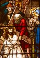 Carrying the Cross (stained glass window unknown origin)