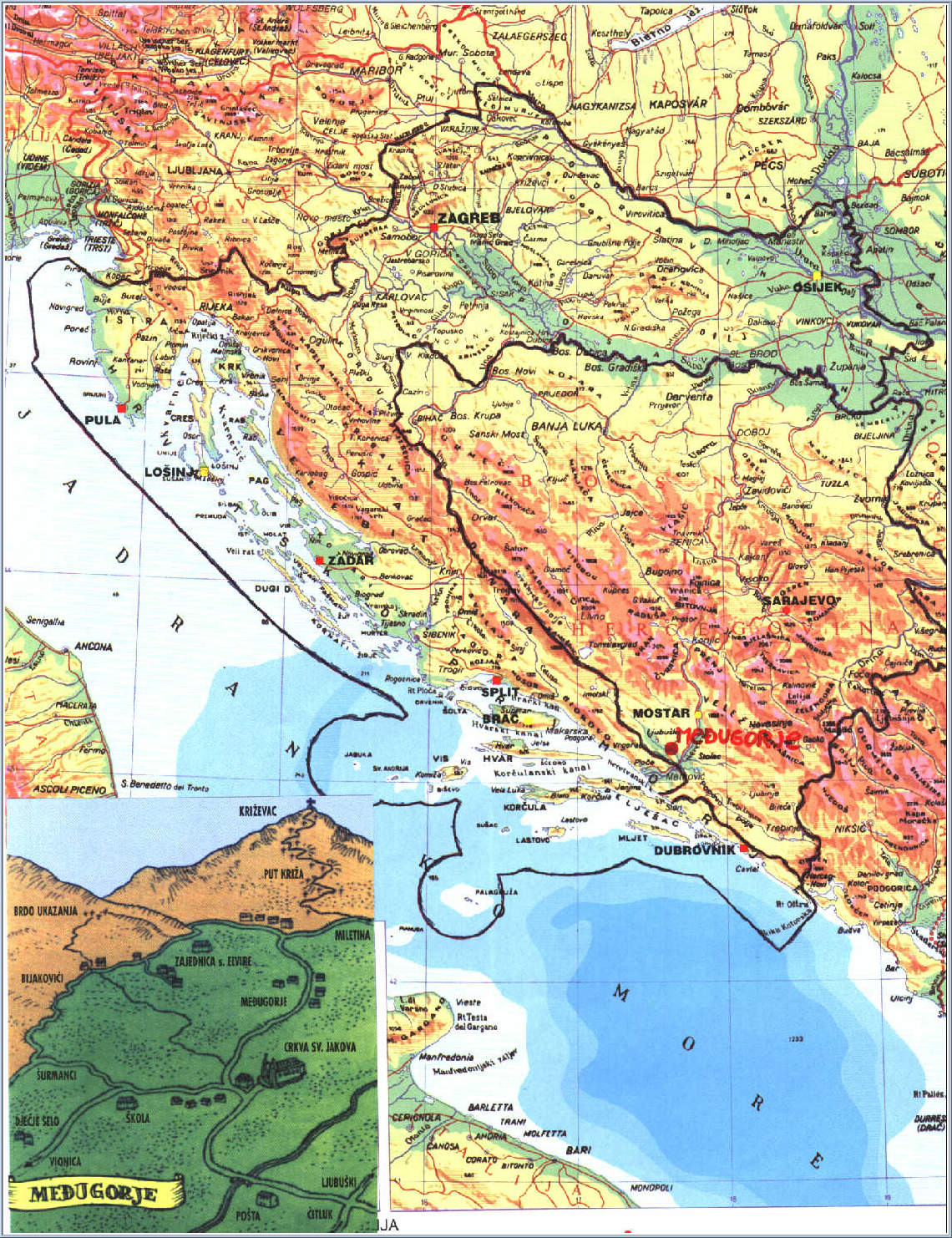 Medjugorje Map Maps Of Surrounding Mostar Bosnia And - Bosnia and herzegovina map
