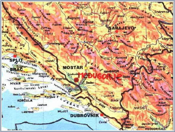 Medjugorje Map 7 - Medjugorje, Mostar, Sarajevo (south part of Bosnia and Herzegovina)