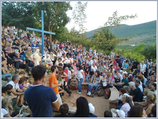 The Blue Cross in Medjugorje where Joshua was placed right next to visionary Mirjana Dragicevic-Soldo during her apparition on July 2nd 2009