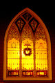 Church window during Christmas