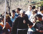 Fr. Slavko Barbaric with pilgrims on Cross Mountain Krizevac