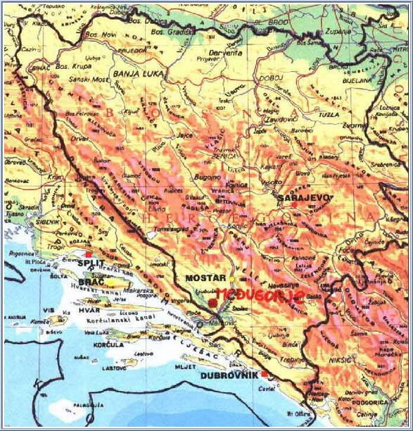 Karta Yugoslavia.Medjugorje Map Maps Of Surrounding Mostar Bosnia And
